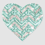 Glittery chevron with anchors and lightning art heart sticker