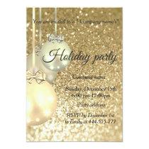 Glittery Christmas balls company holiday party Invitation