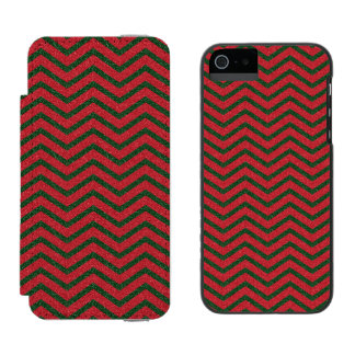Glittery Christmas Chevron Wallet Case For iPhone SE/5/5s