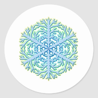 Glittery Christmas Snowflake Ice Crystal Classic Round Sticker