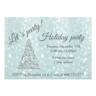 Glittery Christmas tree corporate holiday party Card