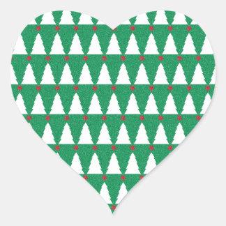 Glittery Christmas Trees Heart Sticker