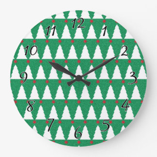 Glittery Christmas Trees Large Clock