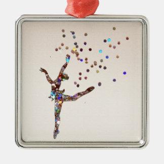 Glittery Dancer Metal Ornament