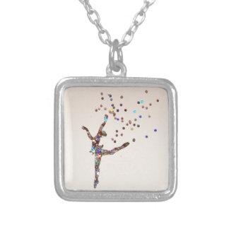 Glittery Dancer Square Pendant Necklace