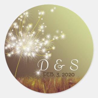 Glittery Dandelion Wedding Favor Monograms Classic Round Sticker