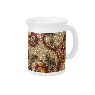 Glittery Earthtone Floral Tapestry Beverage Pitcher