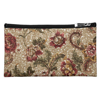 Glittery Earthtone Floral Tapestry Cosmetic Bag