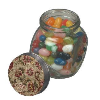 Glittery Earthtone Floral Tapestry Glass Jars