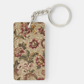 Glittery Earthtone Floral Tapestry Keychain
