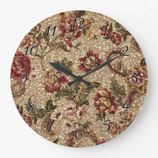 Glittery Earthtone Floral Tapestry Large Clock