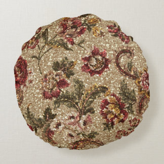 Glittery Earthtone Floral Tapestry Round Pillow