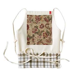 Glittery Earthtone Floral Tapestry Zazzle HEART Apron