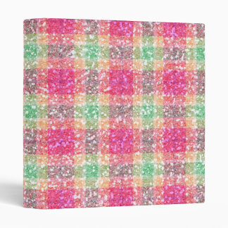 Glittery Easter Tartan Plaid 3 Ring Binder