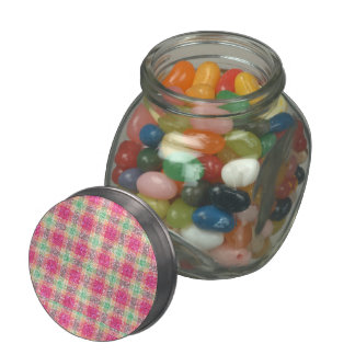 Glittery Easter Tartan Plaid Glass Jar