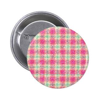 Glittery Easter Tartan Plaid Pinback Button