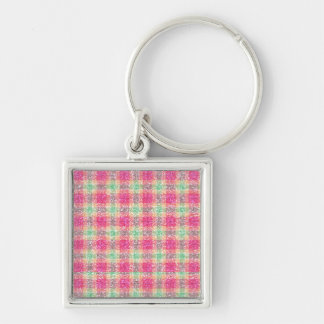 Glittery Easter Tartan Plaid Silver-Colored Square Keychain
