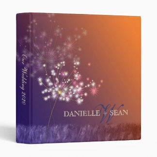 Glittery Evening Dandelion Wedding 3 Ring Binder