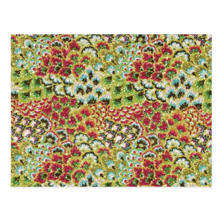 Glittery Fall Floral Tapestry Postcard