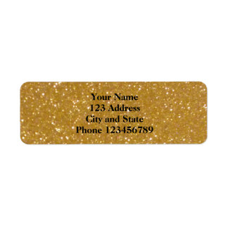 Glittery faux gold glimmer return address labels