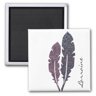 Glittery Feathers Magnet