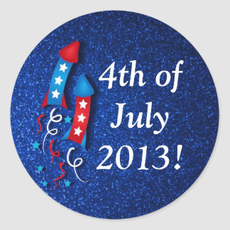 Glittery Fireworks Rocket 4th of July Stickers