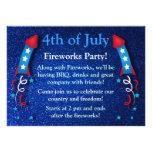 Glittery Fireworks Rocket July 4th Invitations 2