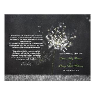 Glittery Floral Chalkboard Wedding Folded Programs Flyer