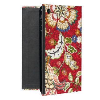 Glittery Floral Tapestry on Red Cover For iPad Mini