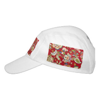 Glittery Floral Tapestry on Red Headsweats Hat