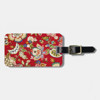 Glittery Floral Tapestry on Red Luggage Tag