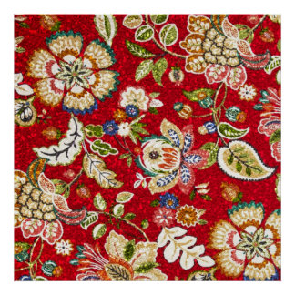 Glittery Floral Tapestry on Red Poster