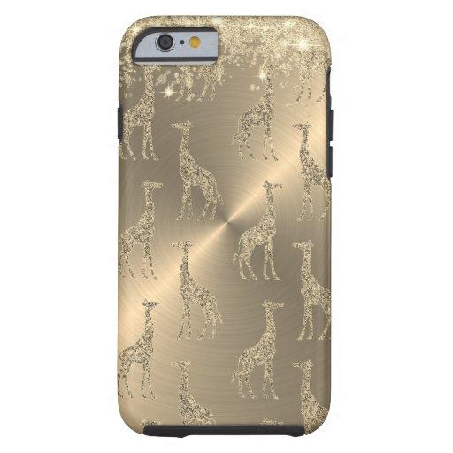 Glittery Giraffes on Glitzy Gold       Tough iPhone 6 Case