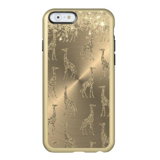Glittery Giraffes on Glitzy Gold      Incipio Feather Shine iPhone 6 Case
