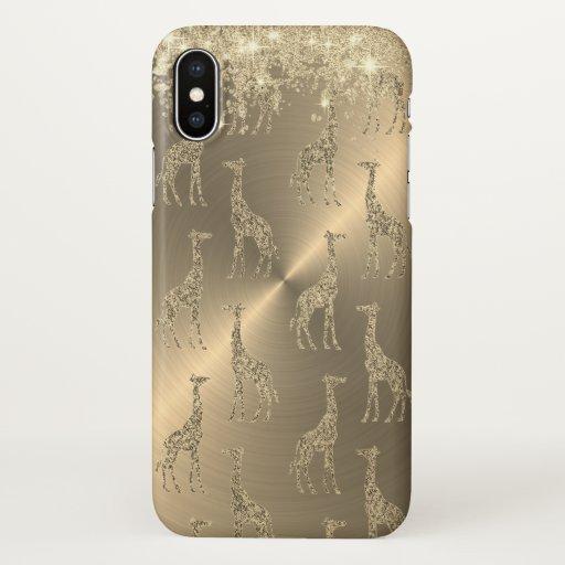 Glittery Giraffes on Glitzy Gold        iPhone X Case