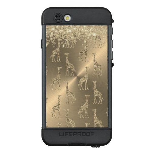 Glittery Giraffes on Glitzy Gold   LifeProof NÜÜD iPhone 6s Case