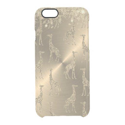 Glittery Giraffes on Glitzy Gold     Clear iPhone 6/6S Case