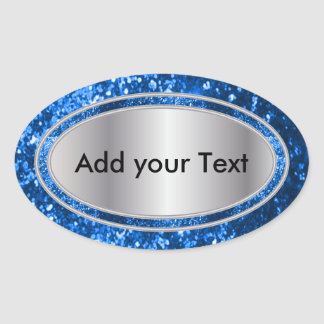 Glittery Glam Blue Sparkles Oval Stickers