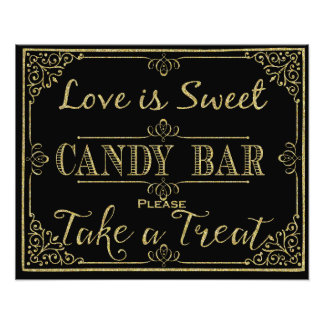 glittery gold and black candy bar wedding sign