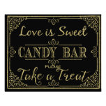 glittery gold and black candy bar wedding sign photo print