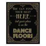 glittery gold and black dance floor wedding sign photo print