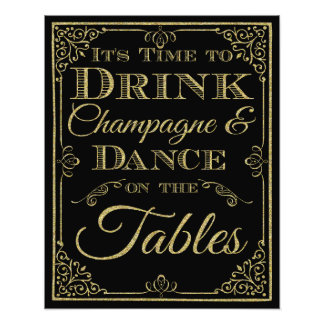glittery gold and black Dance wedding sign