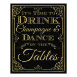 glittery gold and black Dance wedding sign Photo Print
