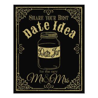 glittery gold and black date jar wedding sign photo print