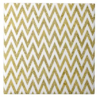 Glittery Gold and White Chevron Stripes Ceramic Tile