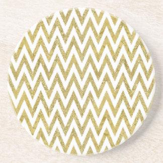 Glittery Gold and White Chevron Stripes Drink Coaster