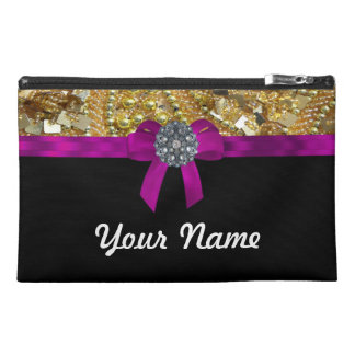 Glittery gold & black travel accessories bag