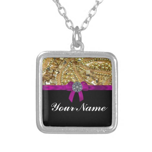 Glittery gold & black custom necklace