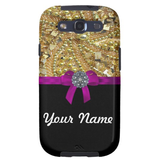 Glittery gold & black galaxy SIII cover