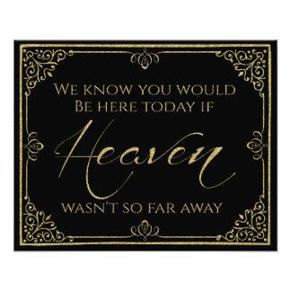 glittery gold black heaven memorial wedding sign